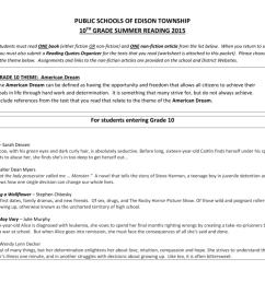 Grade 10 Summer Reading - Edison Township Public Schools [ 791 x 1024 Pixel ]