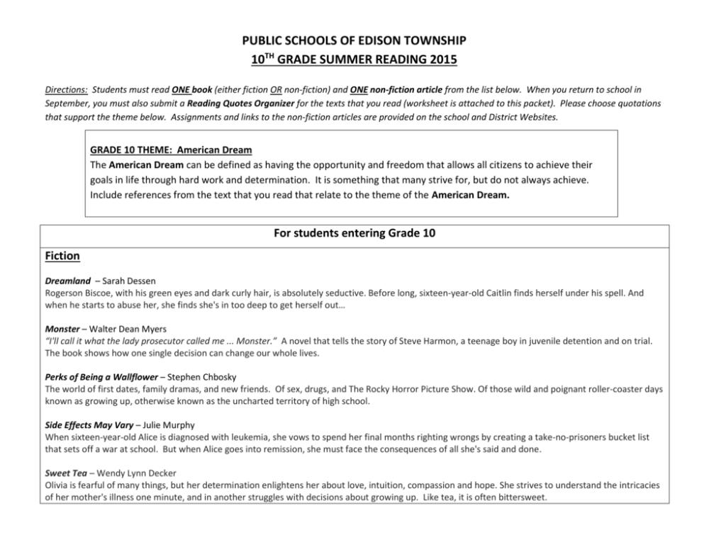 medium resolution of Grade 10 Summer Reading - Edison Township Public Schools