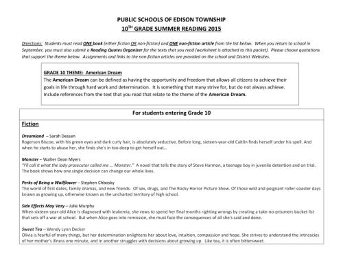 small resolution of Grade 10 Summer Reading - Edison Township Public Schools