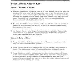 Focus Lessons Answer Key Lesson 1: Elements of Fiction 1. A [ 1024 x 791 Pixel ]