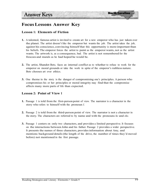 small resolution of Focus Lessons Answer Key Lesson 1: Elements of Fiction 1. A