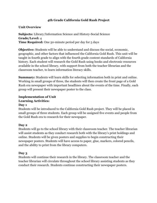 small resolution of 4th Grade California Gold Rush Project.doc