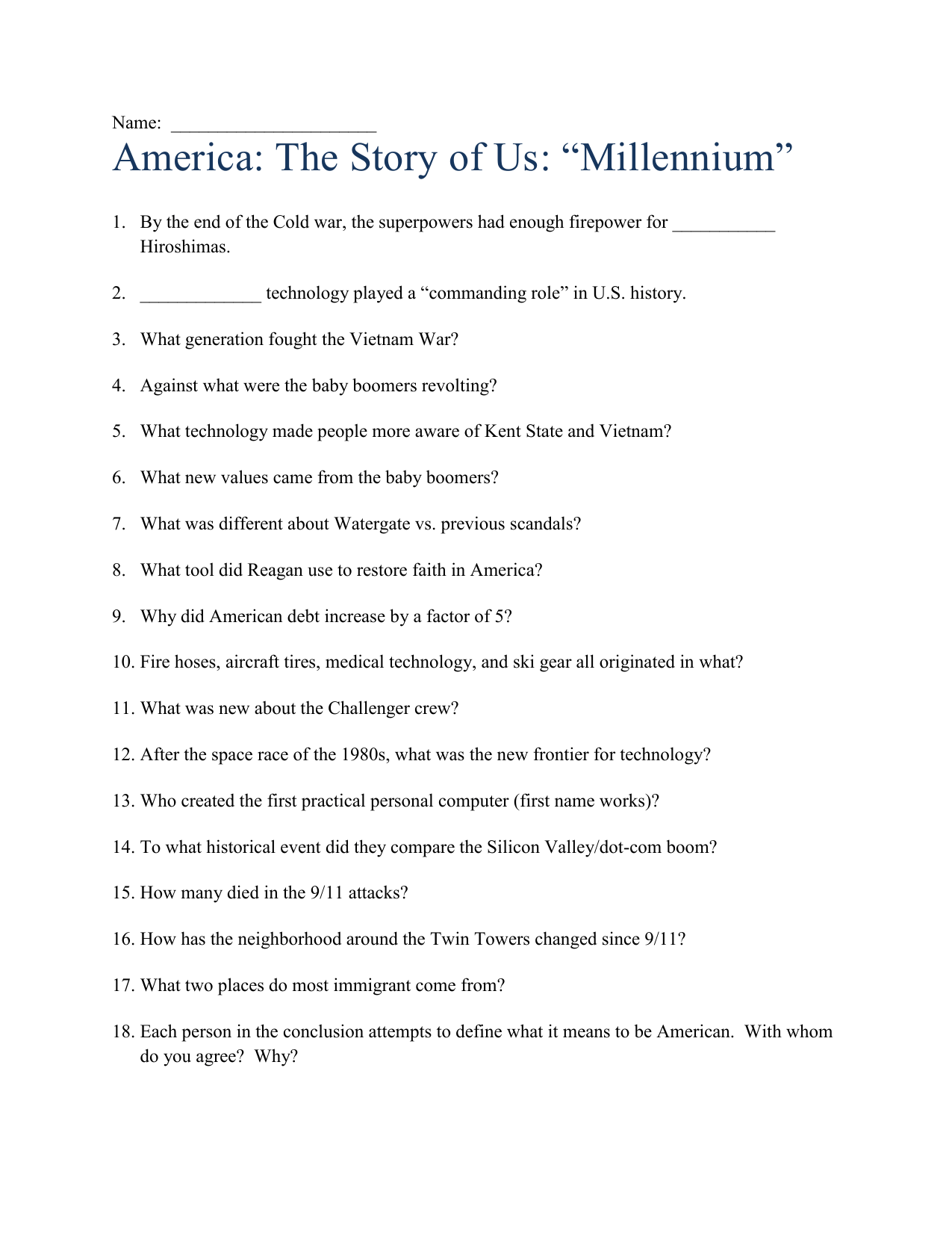 America The Story Of Us Millennium Answer Key
