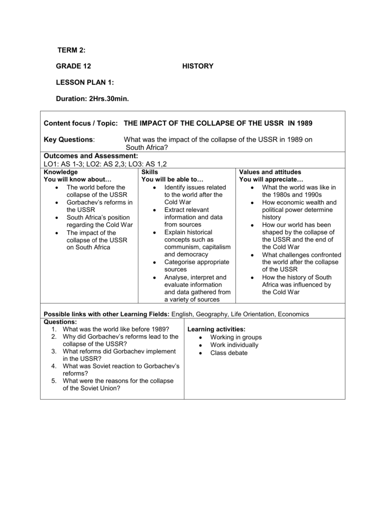 hight resolution of Grade 7 History Term 2 Lesson Plans - The Best Picture History