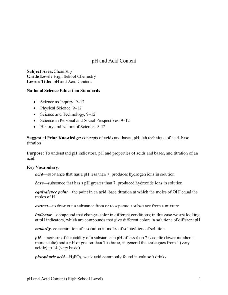 medium resolution of pH and Acid Content High School Lesson Plan