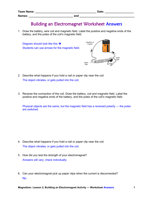 small resolution of Magnets And Magnetic Fields Worksheet - Nidecmege