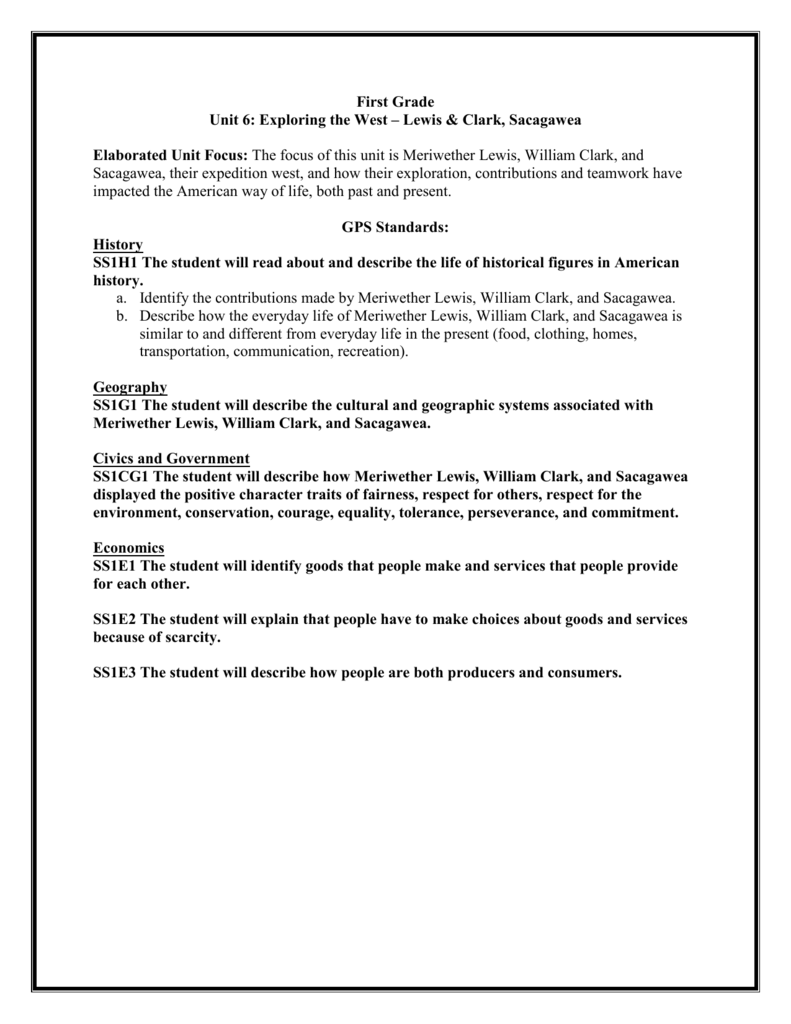 hight resolution of First Grade Unit 6: Exploring the West – Lewis \u0026 Clark