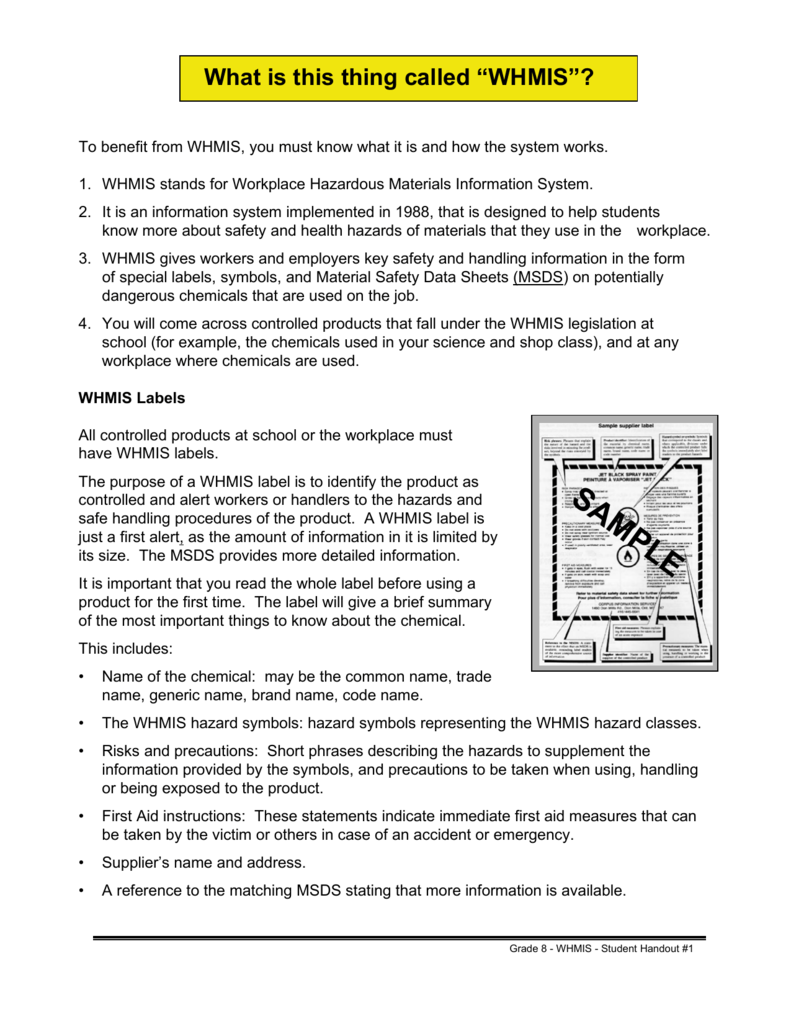 hight resolution of Student WorkSafe Grade 8 WHMIS Student Handouts