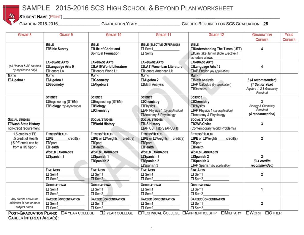 Sample Scs High School Amp Beyond Plan Worksheet