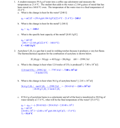 Chem 201X In-Class Worksheet 7: Thermochemistry Answer Key Dr [ 1024 x 791 Pixel ]