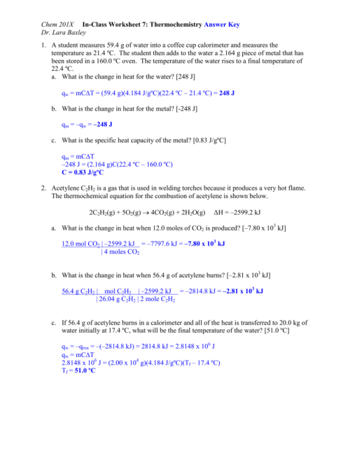 small resolution of Chem 201X In-Class Worksheet 7: Thermochemistry Answer Key Dr