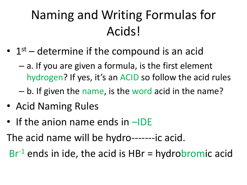 Naming And Writing Formulas For Acids