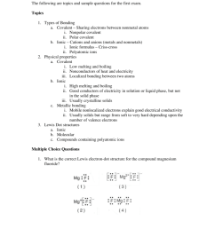 chm1 review for exam 6 the following are topics and sample questions for the first exam topics 1 types of bonding a covalent sharing electrons between  [ 791 x 1024 Pixel ]