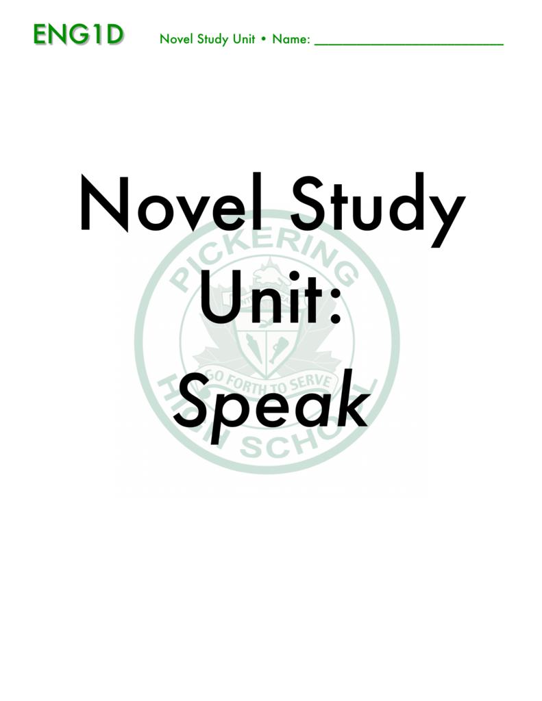 ENG1D Speak Novel Study Unit