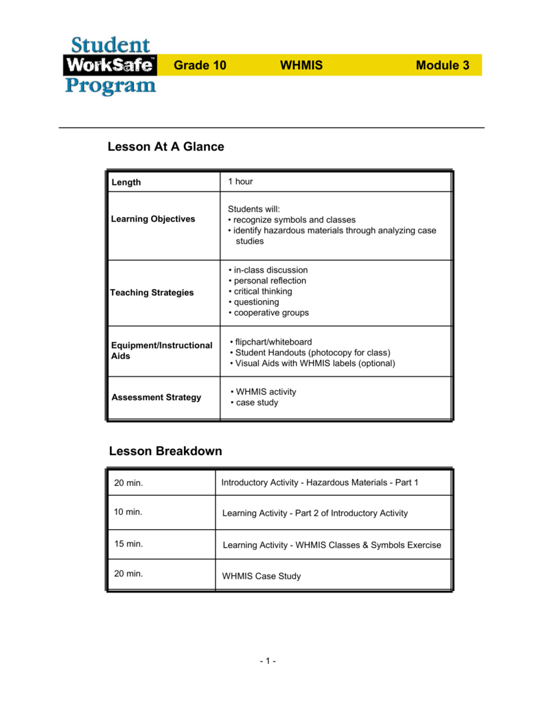 hight resolution of Student WorkSafe Grade 10 WHMIS Plan Module 3
