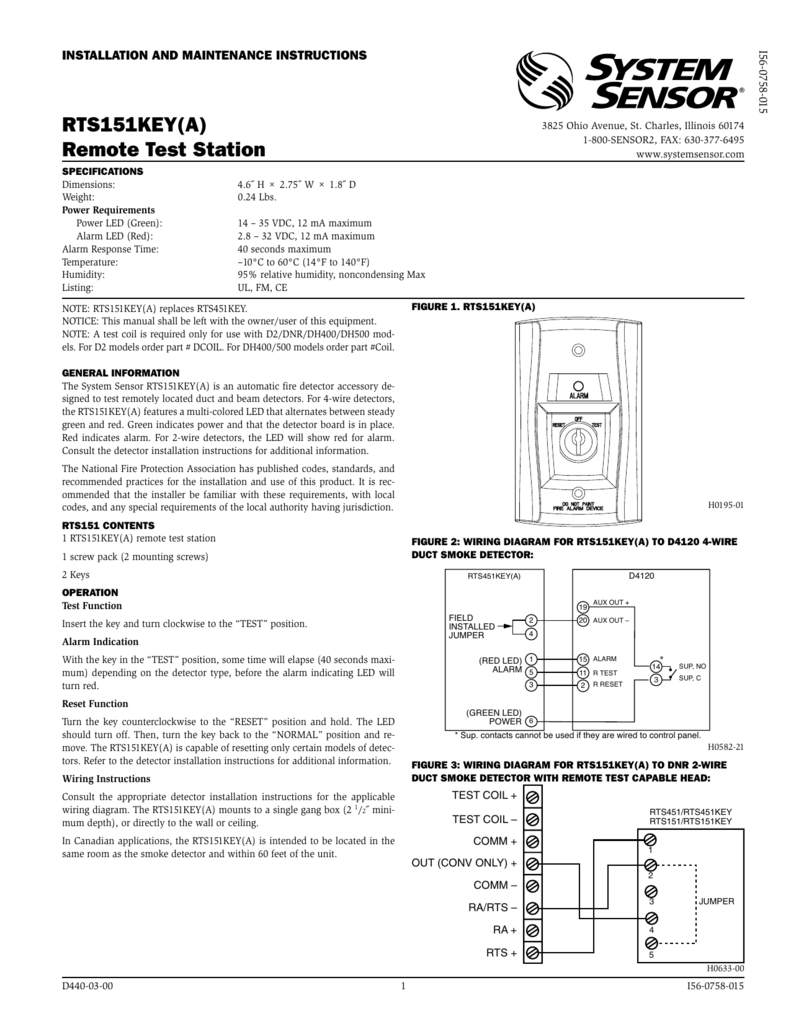 hight resolution of rts151key a remote test station super duct smoke detector wiring diagram duct smoke detector wiring diagram