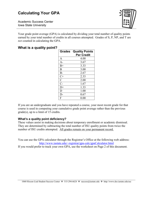 small resolution of Calculating Your GPA - Dean of Students Office