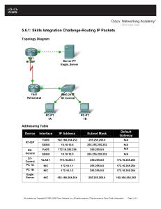 Lab 1.5.3: Challenge Router Configuration