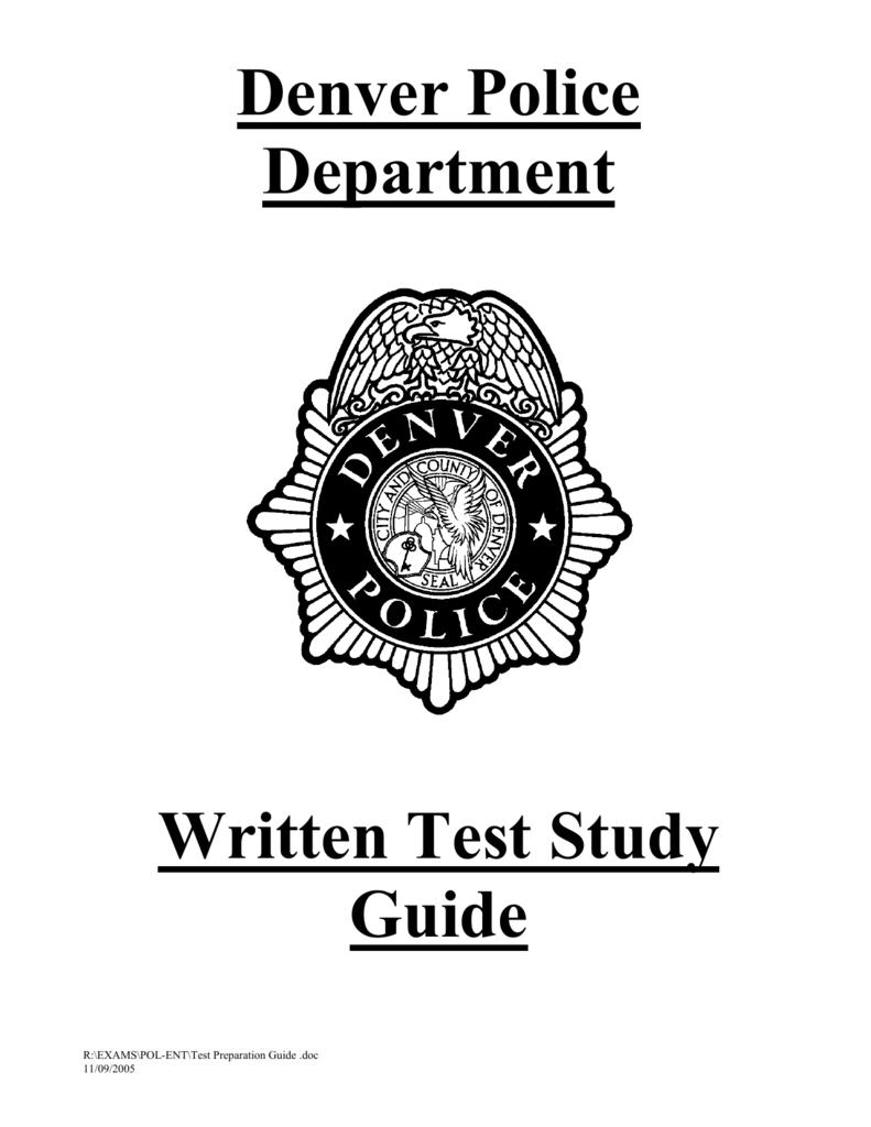 Denver Police Department Written Test Study Guide