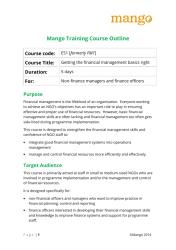 Mango Training Course Outline