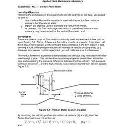 1 venturi flow meter learning objective following the completion of this experiment and the analysis of the data you should be able to  [ 791 x 1024 Pixel ]