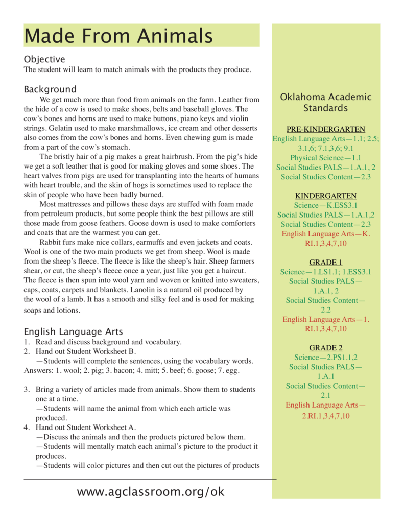 hight resolution of Made From Animals - Oklahoma State 4-H