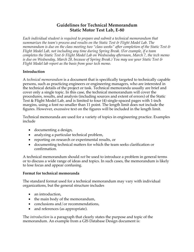 Technical Memorandum Format