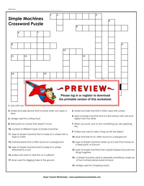 small resolution of Simple Machines Crossword Puzzle