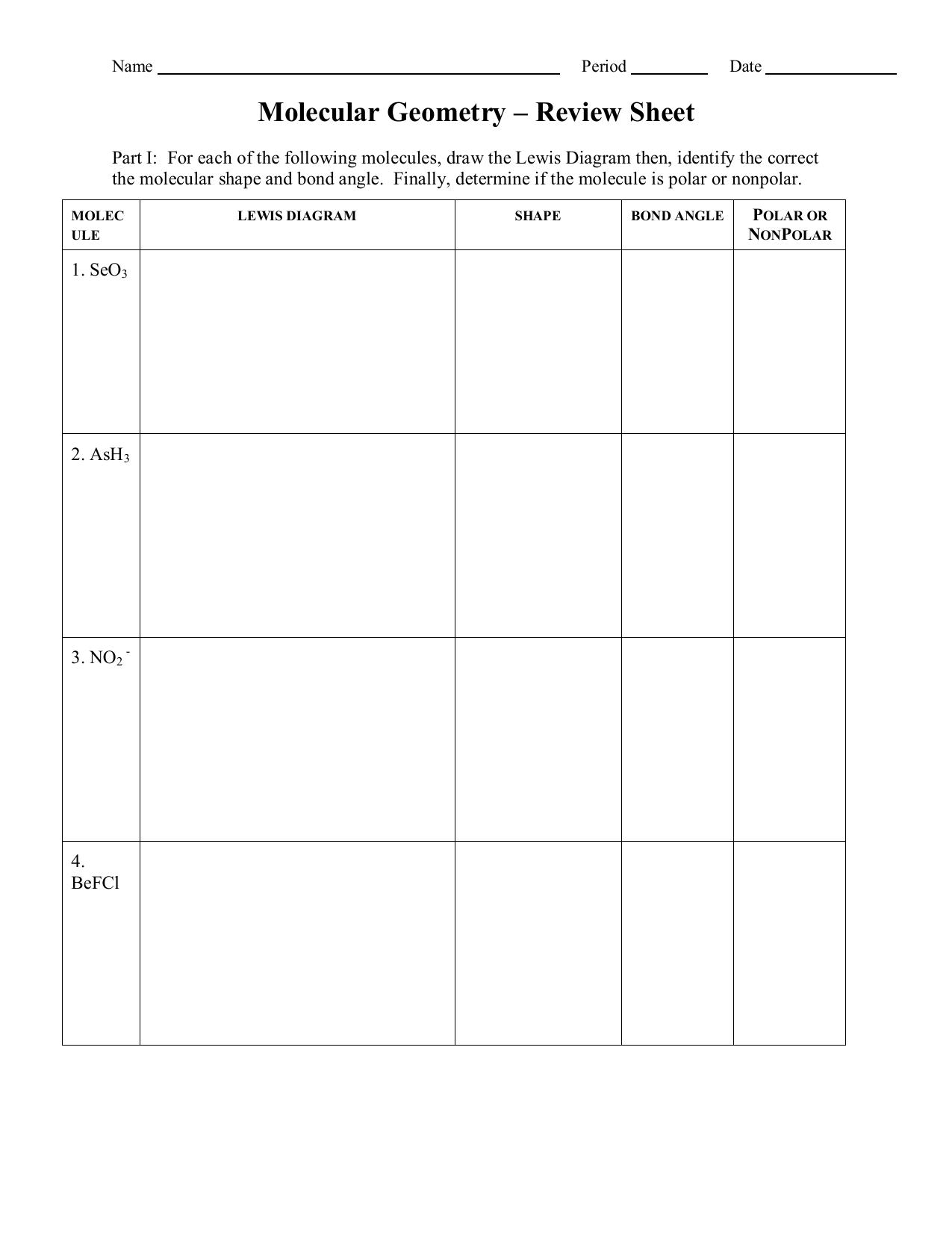 Molecular Polarity Review Sheet