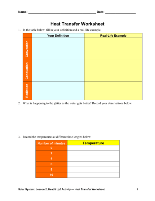 small resolution of Heat Transfer Worksheet