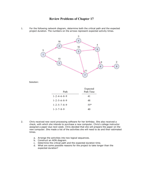 small resolution of for the following network diagram determine both the critical path and the expected project duration the numbers on the arrows represent expected activity