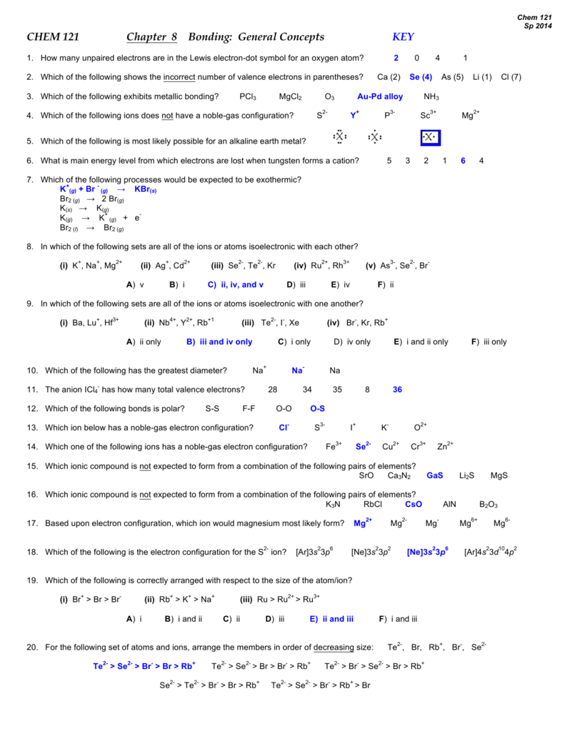 hight resolution of chem 121 sp 2014 chem 121 chapter 8 bonding general concepts key 1 how many unpaired electrons are in the lewis electron dot symbol for an oxygen atom