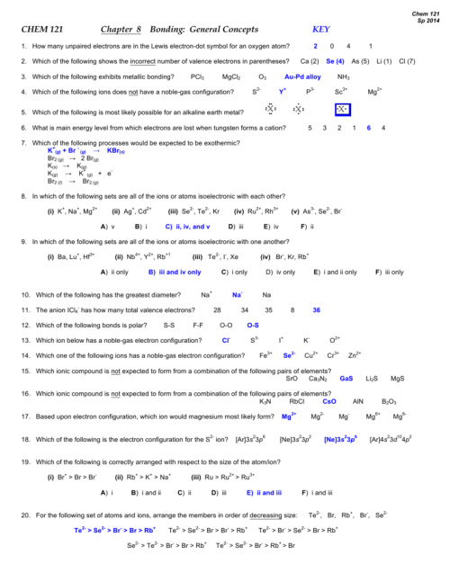 small resolution of chem 121 sp 2014 chem 121 chapter 8 bonding general concepts key 1 how many unpaired electrons are in the lewis electron dot symbol for an oxygen atom