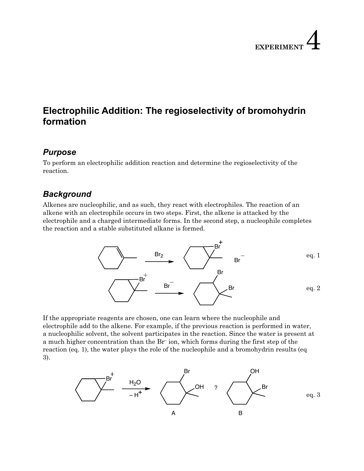 Exp 4 Electrophilic Addition The Regioselectivity Of