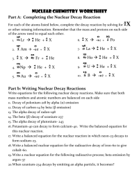 Nuclear Chemistry Worksheet - Bluegreenish