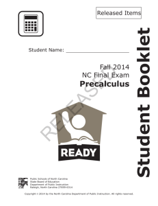RELEASED Student Booklet Precalculus Fall 2015