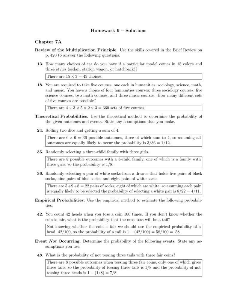 Homework 9 Solutions Chapter 7a