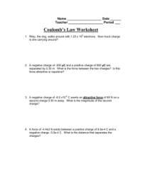 Coulombs Law Worksheet Photos - Getadating