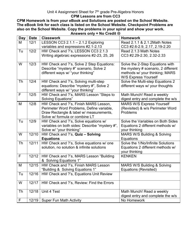 medium resolution of Unit 4 Assignment Sheet for 7th grade Pre