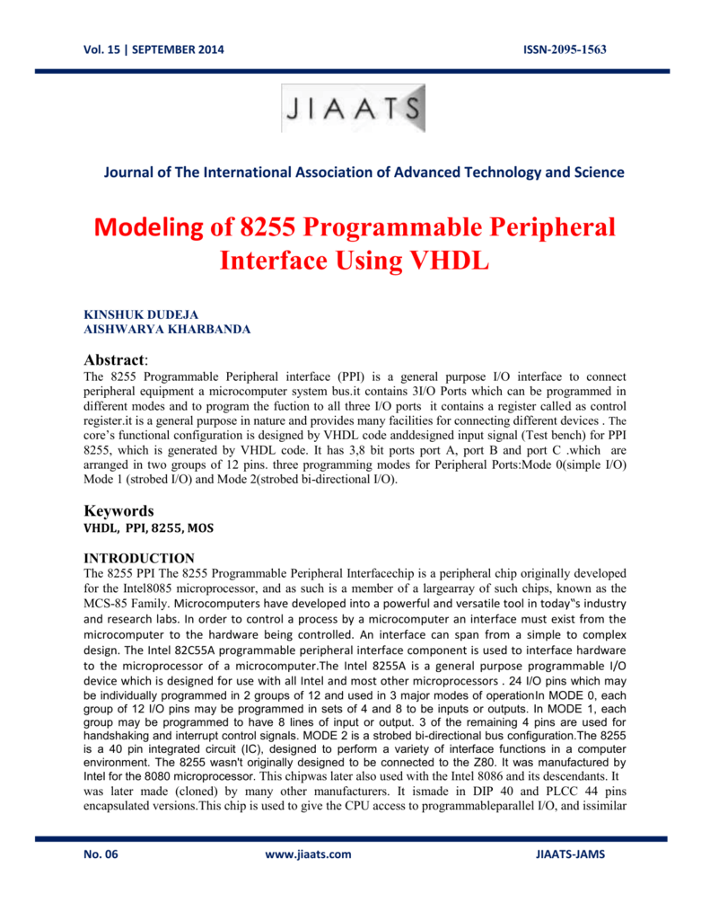 medium resolution of 15 september 2014 issn 2095 1563 journal of the international association of advanced technology and science modeling of 8255 programmable peripheral