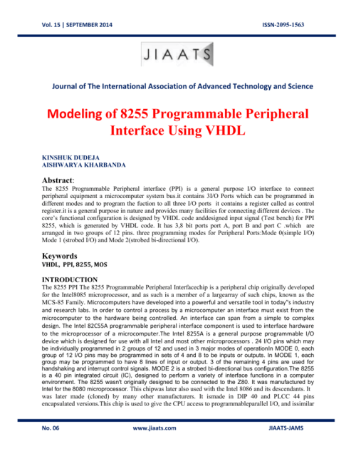 small resolution of 15 september 2014 issn 2095 1563 journal of the international association of advanced technology and science modeling of 8255 programmable peripheral