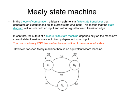 small resolution of mealy state machine in the theory of computation a mealy machine is a finite state transducer that generates an output based on its current state and
