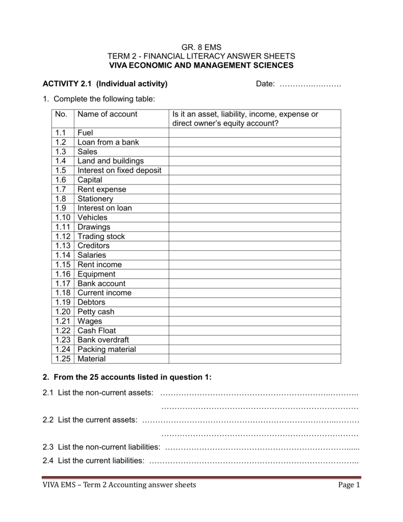 hight resolution of VIVA EMS – Term 2 Accounting answer sheets Page 1 GR. 8 EMS