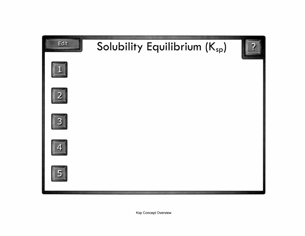 Solubility Equilibrium (Ksp)