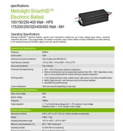 specifications metrolight smarthid electronic ballast 100 150 250 400 watt hps 175 200 250 320 400 450 watt mh operating specifications metrolight  [ 791 x 1024 Pixel ]