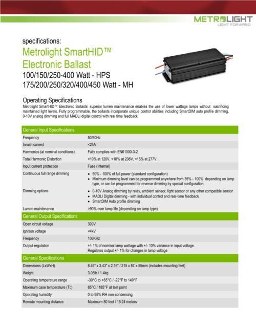 small resolution of specifications metrolight smarthid electronic ballast 100 150 250 400 watt hps 175 200 250 320 400 450 watt mh operating specifications metrolight