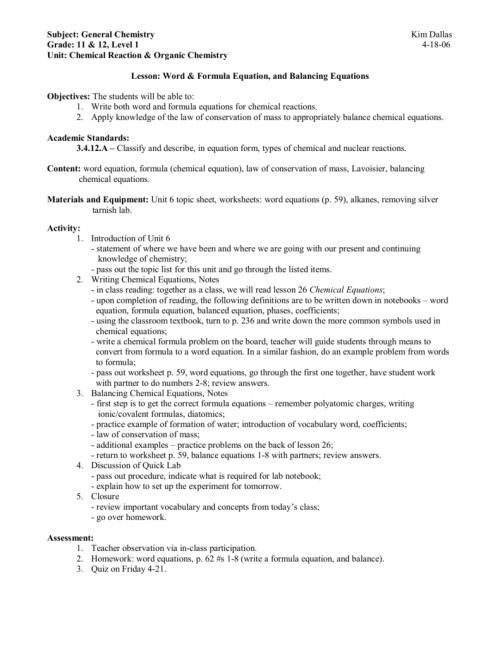 small resolution of Subject: General Chemistry Kim Dallas Grade: 11 \u0026 12