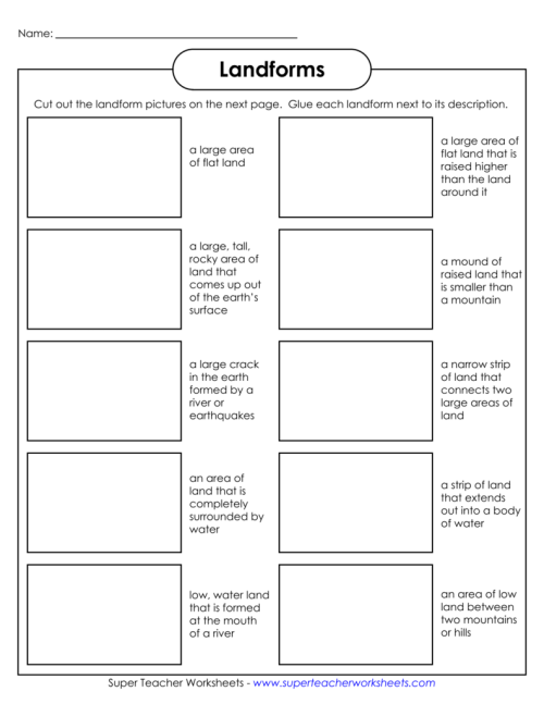 small resolution of Landforms - Super Teacher Worksheets