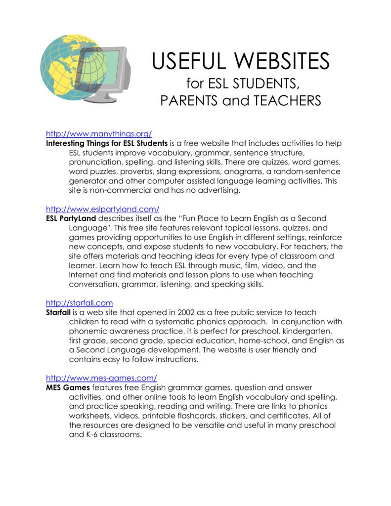 hight resolution of Useful ESL Websites