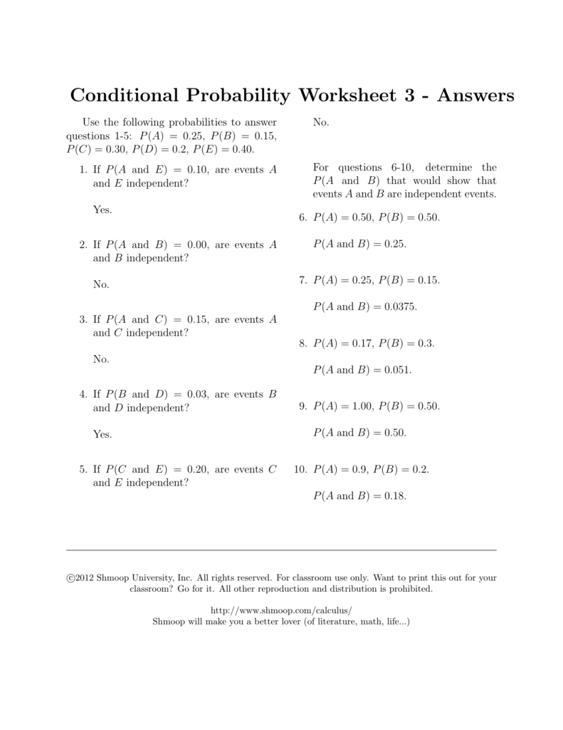 hight resolution of Conditional Probability Worksheet 3 - Answers